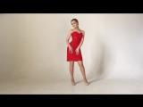 красное платье-бюстье на корсете
