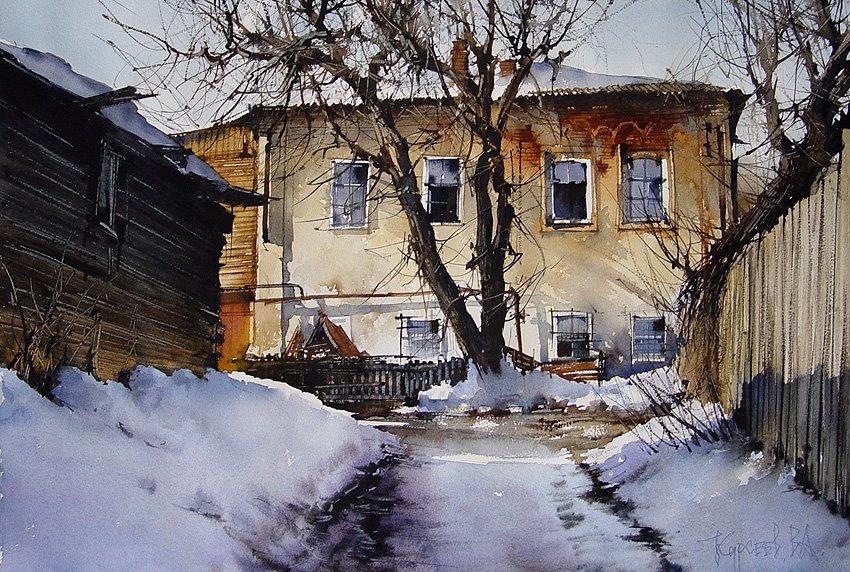 Уютные старые улочки и дворы на акварелях саратовского художника Вячеслава Курсеева