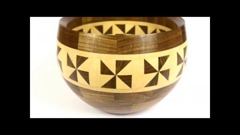 Красивая сложная чаша из дерева