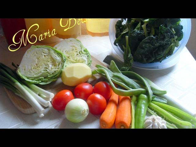 Запеканка картофельная и суп с зеленой фасолью.KartoffeL Auflauf und Käse Suppe mit Brechbohnen