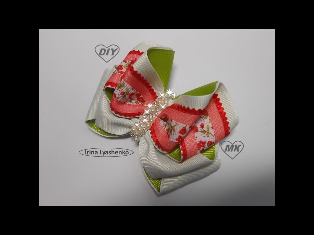 Бант из репсовых лент МК/DIY BOW Grosgrain ribbon/ PAP Arco Fita do grosgrain
