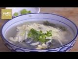 Суп с сушеными водорослями и яйцом