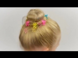 3 mins. Bun hairstyle for little girl, no hairpins. Quick and easy hairstyle for little girl #17