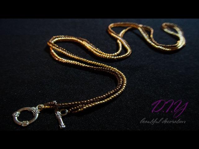 TUTORIAL. Gold chain beaded/ МАСТЕР - КЛАСС.Жгут из бисера
