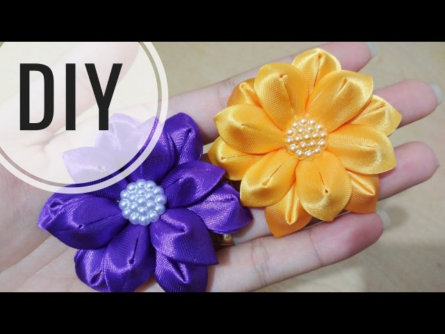 DIY || Cara Membuat Bros Bunga || Kanzashi Flower Tutorial 19 🌸