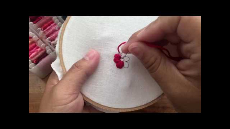 Hand Embroidery Satin Stitch Flowers by Kayla of Knotty Dickens