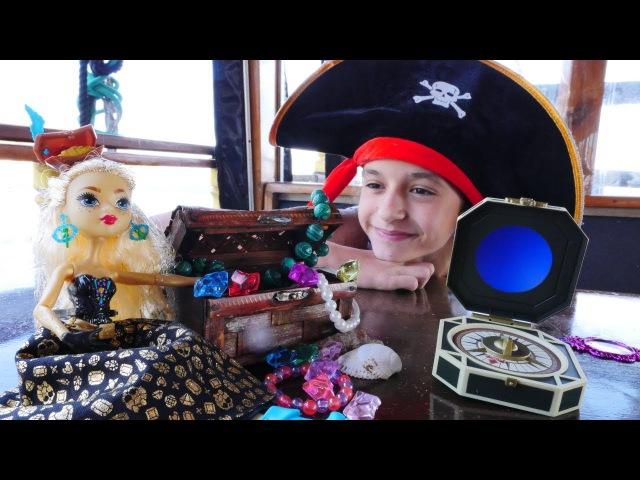 çocukoyuncakları.Asu Ela ve MonsterHigh Dayna Korsan HAZİNESİ arıyorlar! GERÇEK teknede oynuyoruz!