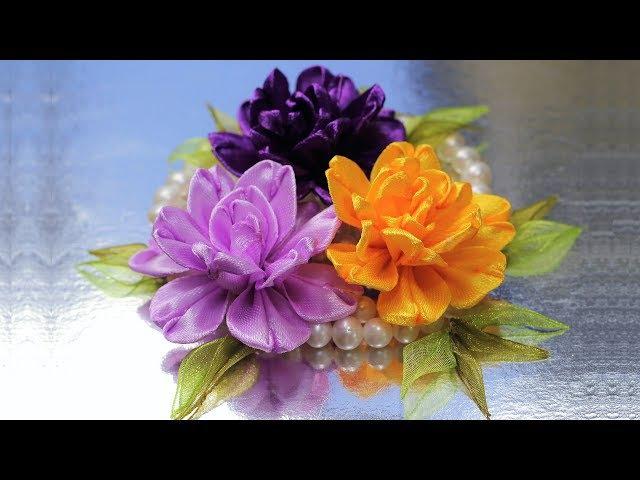 Цветочки из ЭКО лепесточков Мастер класс КАНЗАШИ из лент DIY Ribbon Flower Kanzashi