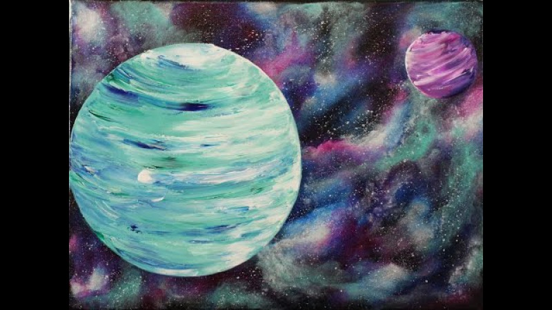 Nebula and Planets Step by Step Acrylic Painting on Canvas for Beginners