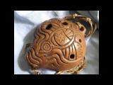 Handbuild clay Bird 4-hole ocarina, double milk firing, unique shamanic totem musical instrument