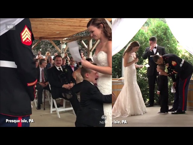 Marine's Son hugs new Step-Mom and Cries during Wedding Vows | Adorable