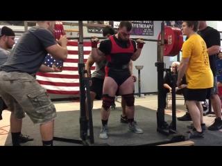 Бэн Поллак до 90 кг приседает 335 кг в наколенных бинтах