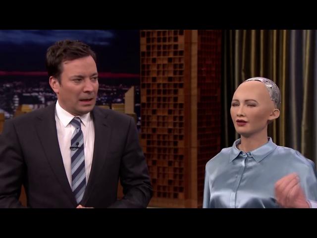 Робот София шутит про захват человечества полностью на русском