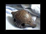 Handbuild clay Owl 5-hole ocarina, double milk firing, unique shamanic totem musical instrument
