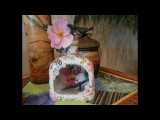 Reverse Decoupage Bottle with a