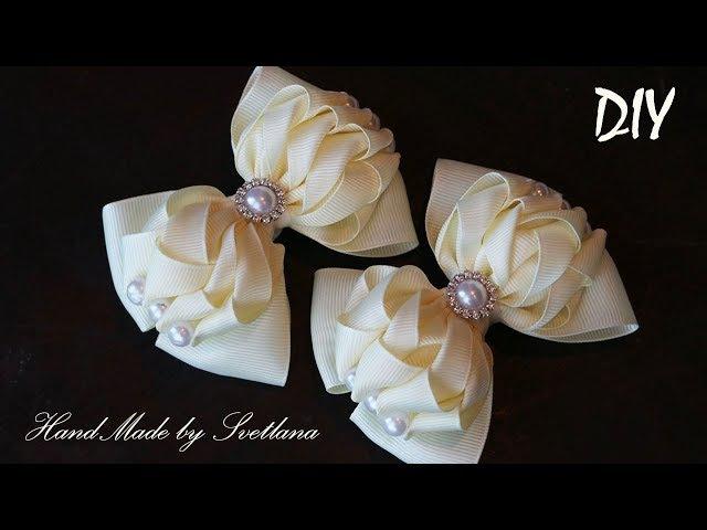 Красивые бантики из репсовой ленты на резинке Канзаши Grosgrain ribbon bow Laco de fita