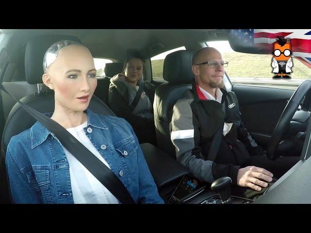 Robot Meets Self Driving Car - Sophia by Hanson Jack by Audi