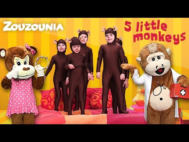 5 Little Monkeys Jumping On The Bed | New Nursery Rhymes by Zouzounia TV