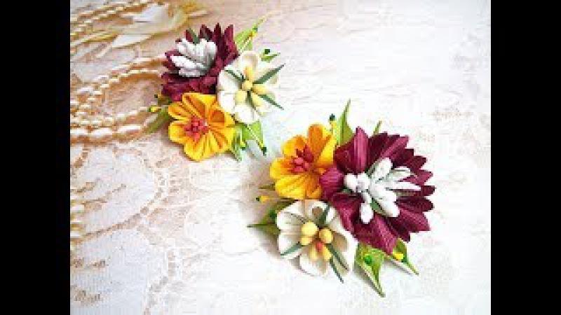 Маленькие цветочки на резинке из лент канзаши МК / hair clips ribbon kanzashi DIY