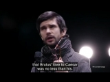 The Bridge Theatre_Brutus, played by Ben Whishaw, defends his actions against Caesar