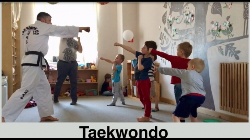 Тхэквондо в детском саду Зернышко. Спортивные занятия старшей группы мальчиков