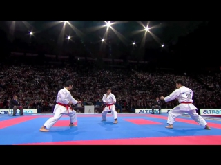Action scene 2017 top (1-2) Karate Japan vs Italy. Final Male Team Kata. WKF World Karate Champions