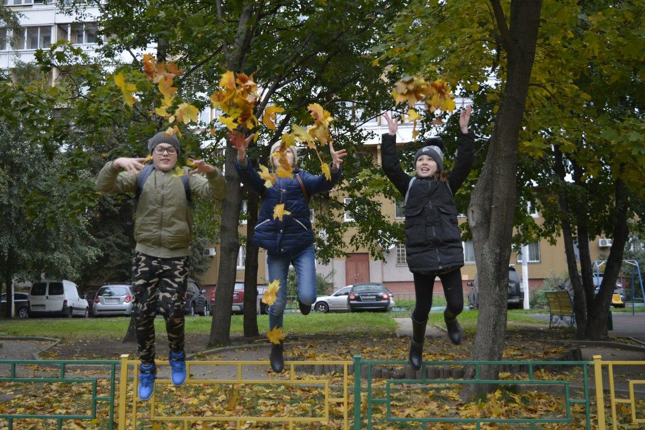 прогулка и и сбор осенней листвы