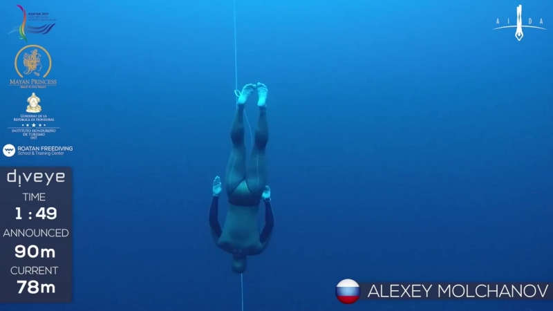 Gold medal freedive without fins to 90m Alexey Molchanov AIDA WC 2017
