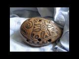 Handbuild clay Fish 7-hole ocarina, double milk firing, unique shamanic totem musical instrument