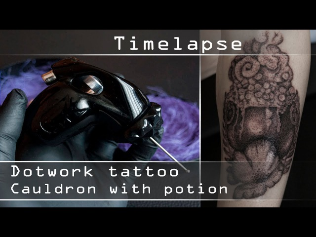 Tattoo Timelapse - Cauldron with Potion - Close up process