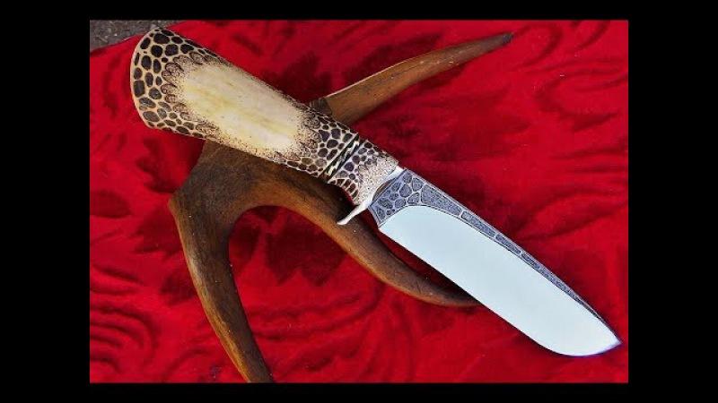 Монтаж рукояти на ноже со вставками