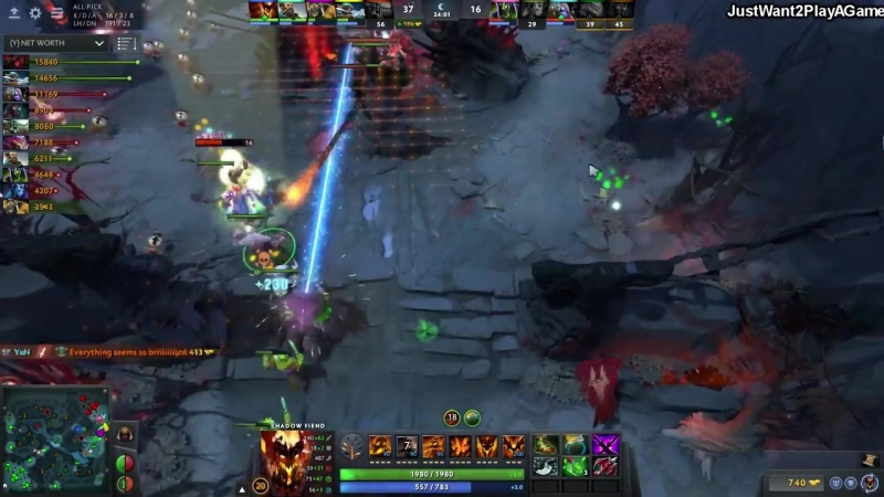 [JustWant2PlayAGame] Miracle- Shadow Fiend 5 Damage Per Soul Talent - Super Intense Game Dota2