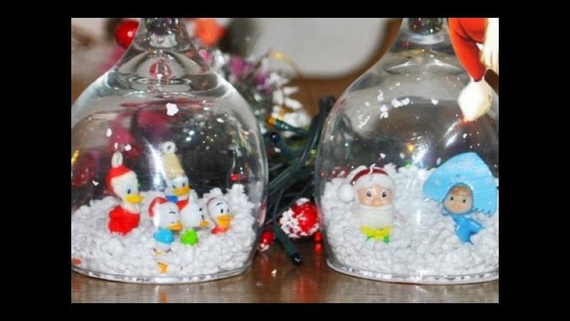 ❀Новогодние украшения Подсвечники из бокалов герои Диснея Маша и Медведь Дед Мороз