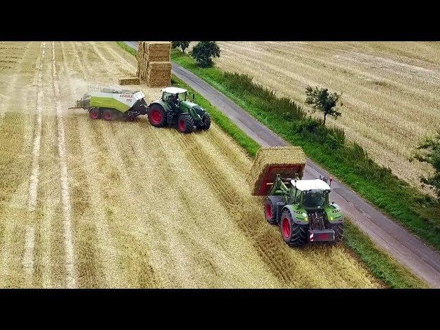 Stroh Pressen mit Fendt 936 Class Quadrant 2200 RC und laden mit Fendt 724 TPS Lohnbetrieb