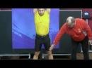 Техника работы ног в момент сброса гирь на грудь в толчке двух гирь от Сергея Мишина