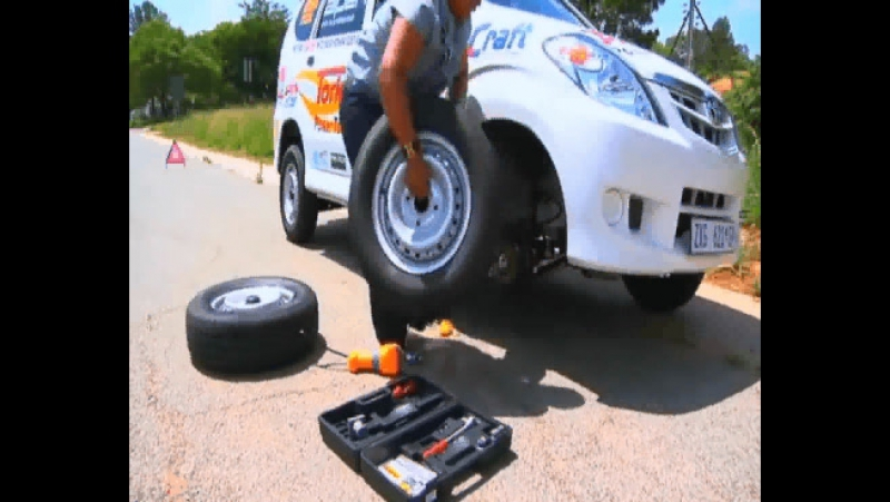 Change Your Car Tyre In 60secs_With Remote Control Electric Car Jack,Electric WheelSpanner Air pump