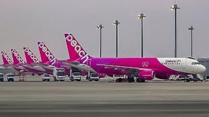Osaka - Busan. Takeoff on Flying Peach Airbus A320/ 離陸 A320 関西国際空港/Осака - Пусан. Взлет Airbus A320