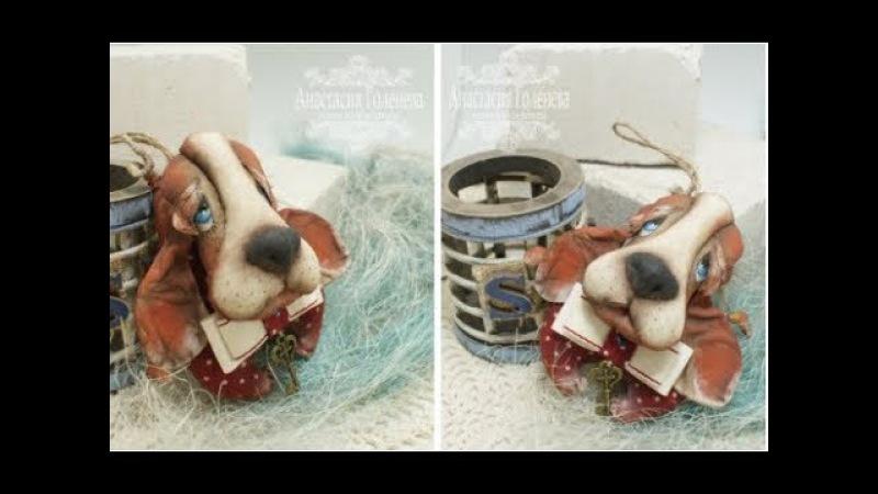 Мастер класс Подвеско собака. Игрушка в технике грунтованный текстиль