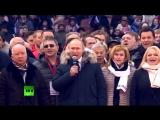 Путин спел гимн России на митинге в Лужниках в свою поддержку