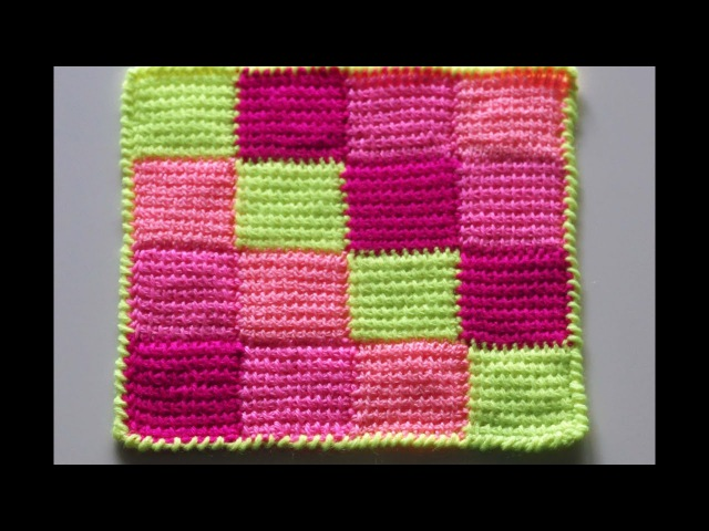 Узор для пледа. Вязание пледа крючком. Тунисское вязание. Плед крючком. (Plaid pattern)