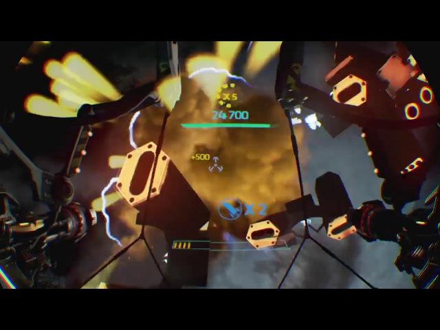 Геймплей в VR на игру Gunjack