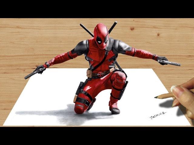 3D Colored Pencil Drawing of Deadpool - Speed Draw   Jasmina Susak
