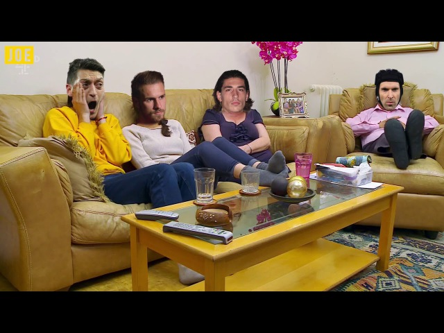The Arsenal squad settle down to watch some Champions League TV on their night off