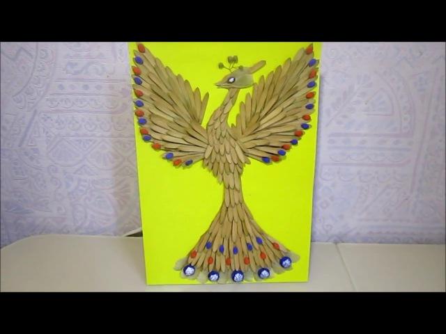 Жар птица,осенняя поделка из природного материала.