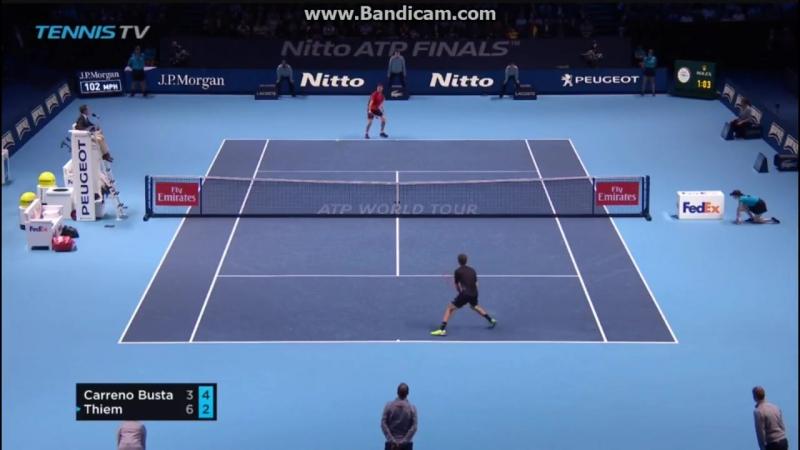 Теннис. ATP. Лондон. Хард Карреньо-Буста Пабло -Тьем Доминик1:2 (3:6, 6:3, 4:6) .Обзор матча