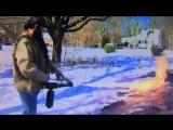 Американец огнемётом почистил дорожку от снега
