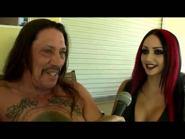 Danny Trejo and Dani Divine interviewed by Corpsy on set for Girls and Corpses magazine