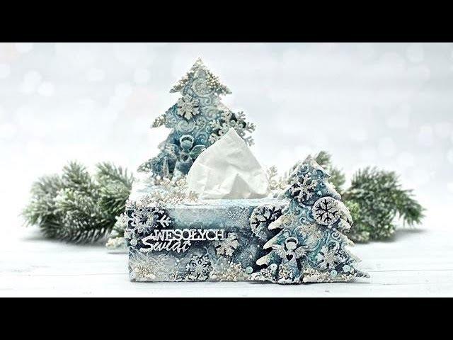 Chustecznik świąteczny mix media - tutorial DIY