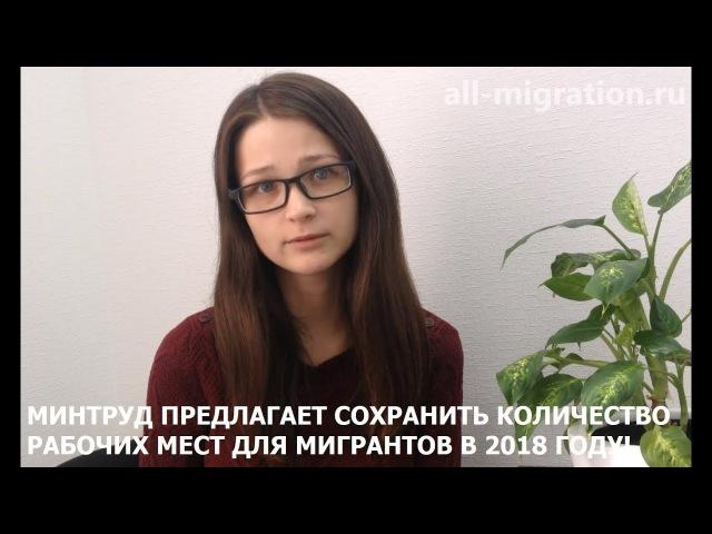 Минтруд предлагает сохранить количество рабочих мест для мигрантов в 2018 году