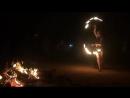 Firedance in drumm party Auroville Africa pavilion